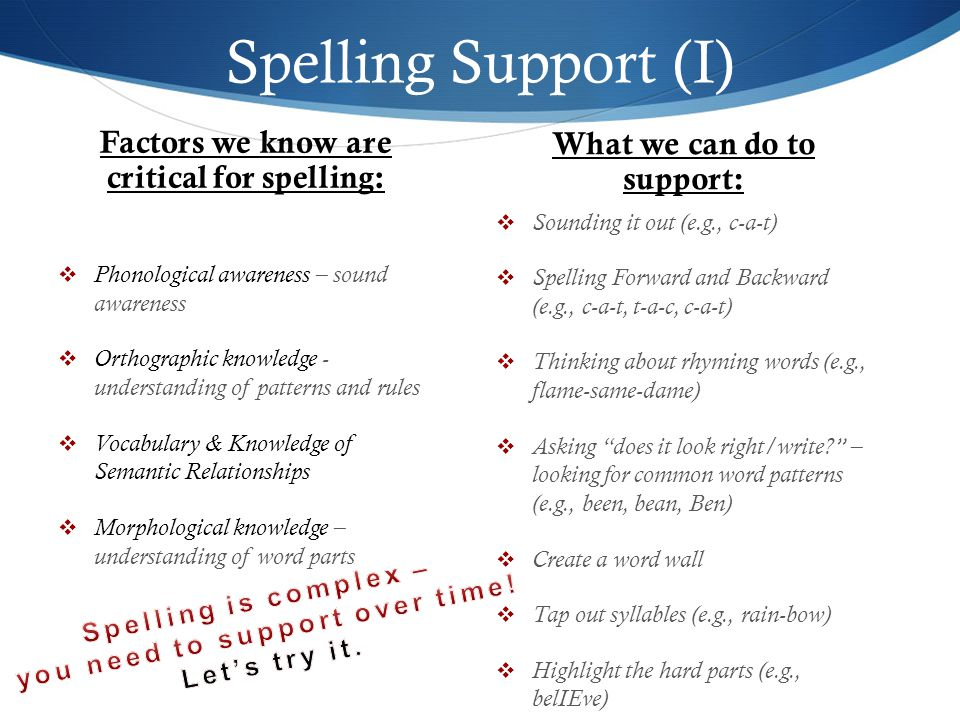 Spelling Support (I) Factors we know are critical for spelling: