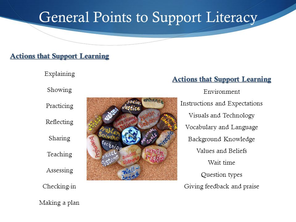 General Points to Support Literacy