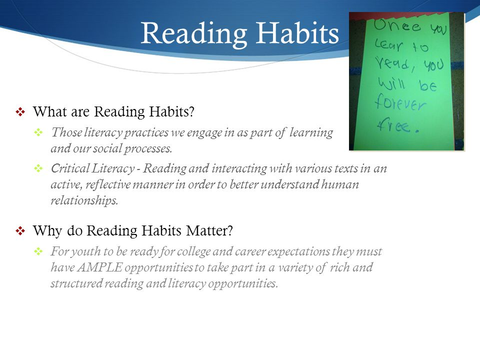 Reading Habits What are Reading Habits Why do Reading Habits Matter