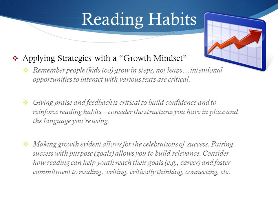 Reading Habits Applying Strategies with a Growth Mindset
