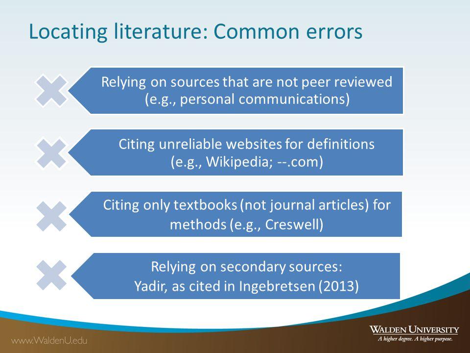 Locating literature: Common errors