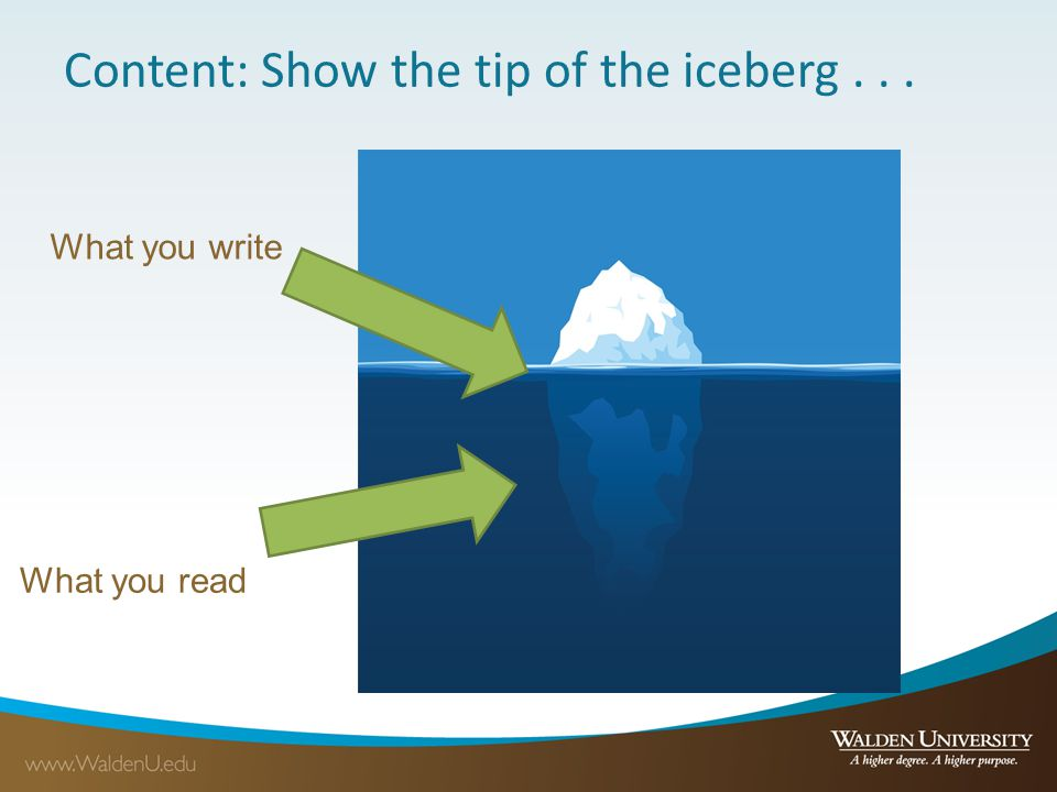 Content: Show the tip of the iceberg . . .