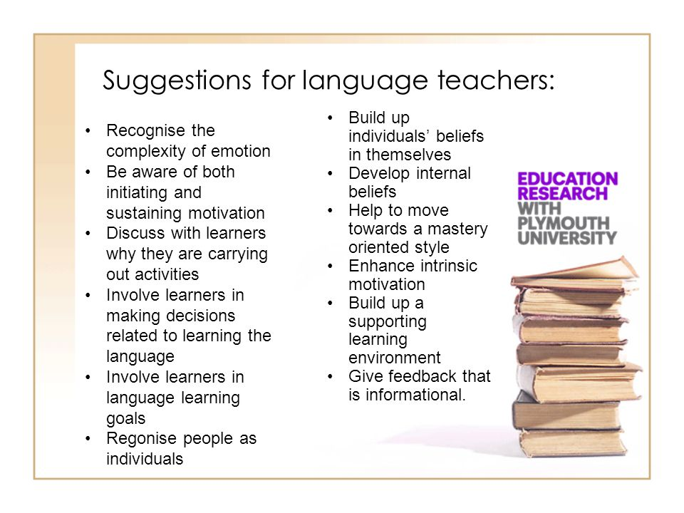 Suggestions for language teachers: