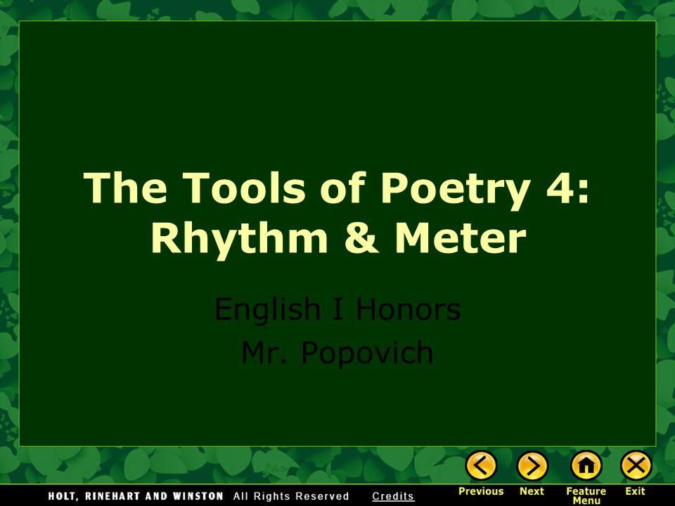 The Tools of Poetry 4: Rhythm & Meter