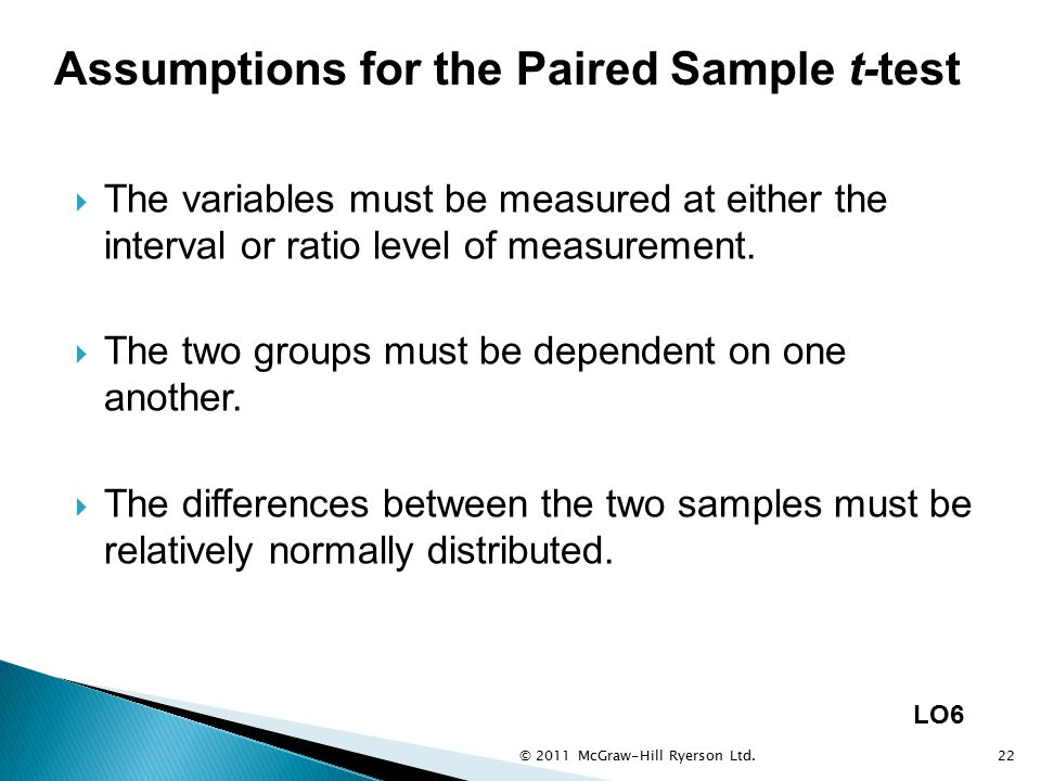 Assumptions for the Paired Sample t-test