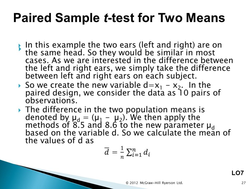 Paired Sample t-test for Two Means