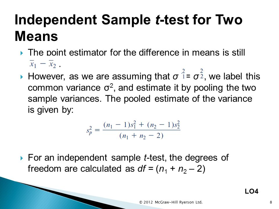 Independent Sample t-test for Two Means