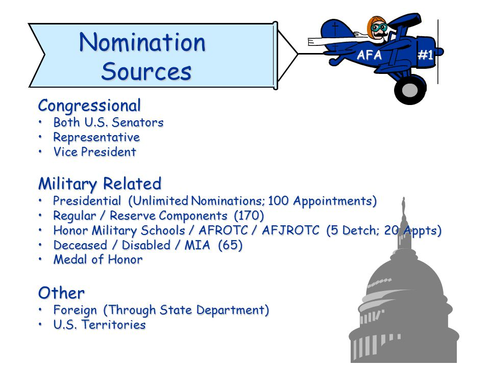 Nomination Sources Congressional Military Related Other AFA #1