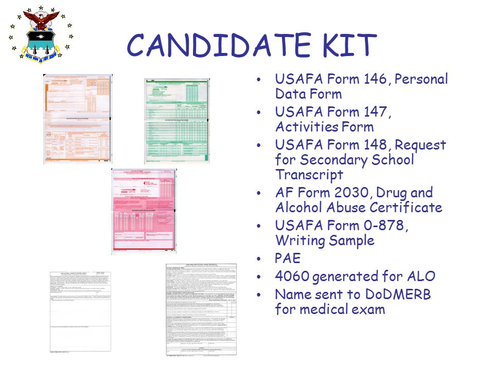 CANDIDATE KIT USAFA Form 146, Personal Data Form