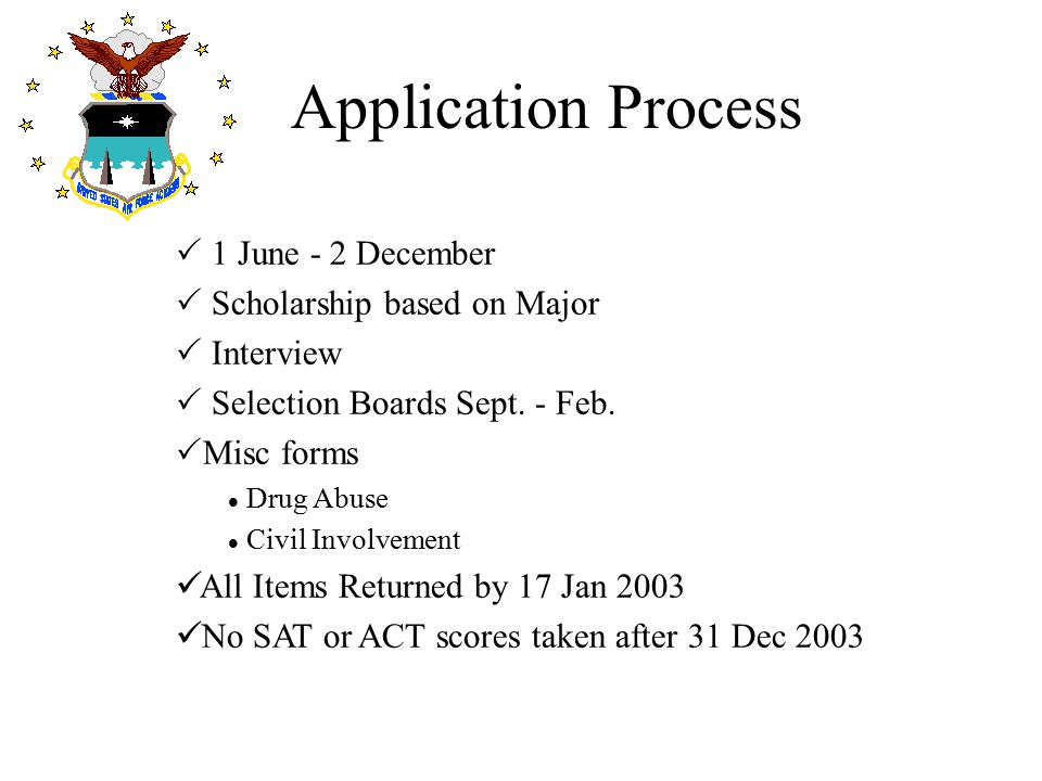 Application Process 1 June - 2 December Scholarship based on Major