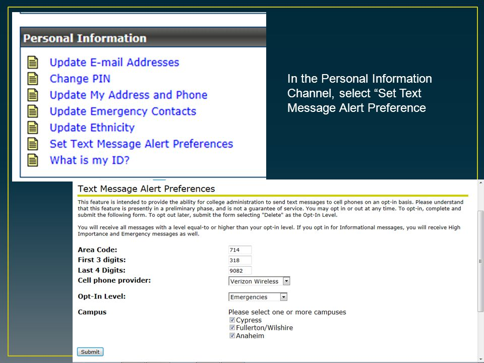 In the Personal Information Channel, select Set Text Message Alert Preference