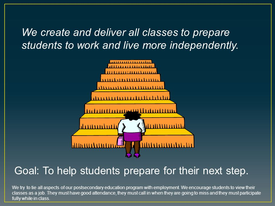 Goal: To help students prepare for their next step.