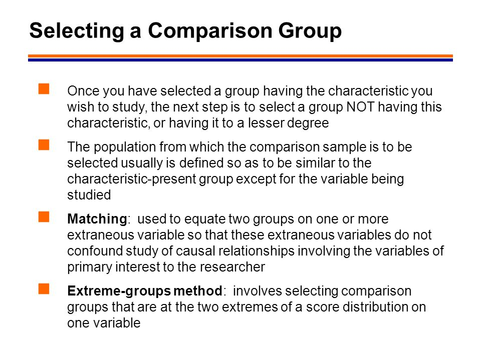 Selecting a Comparison Group
