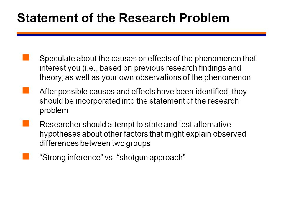 Statement of the Research Problem
