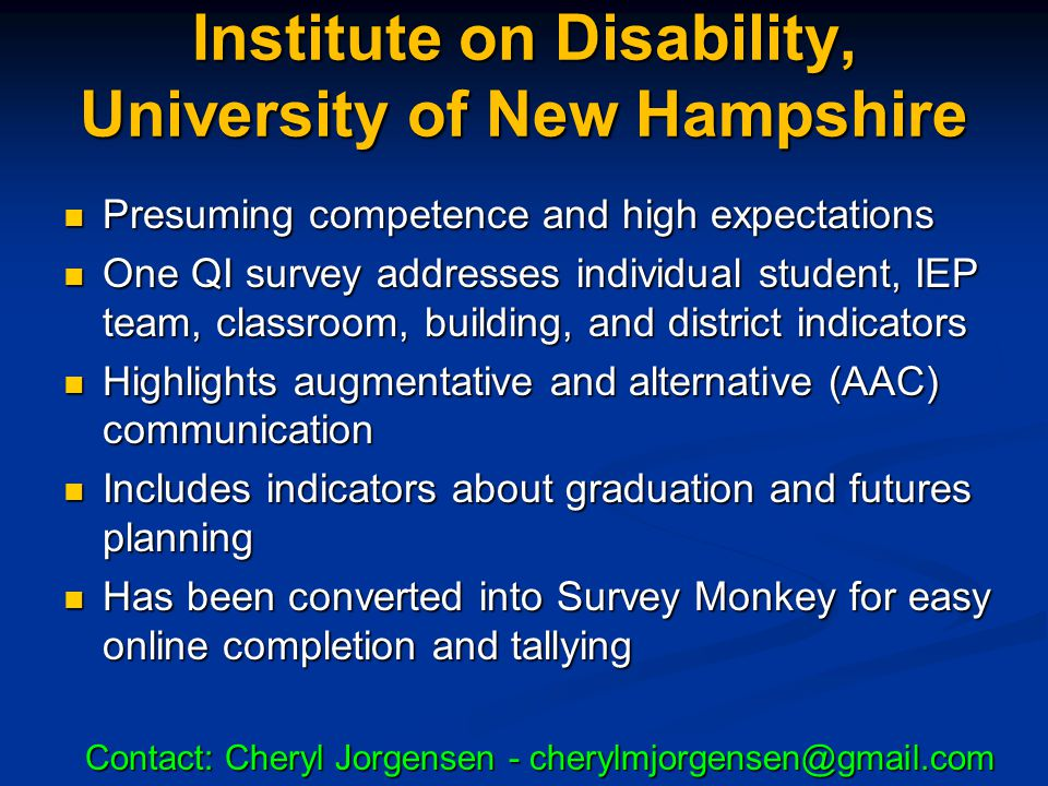 Institute on Disability, University of New Hampshire
