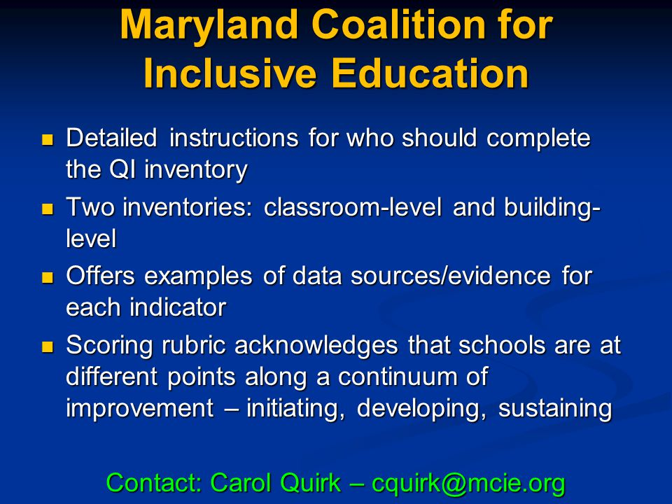 Maryland Coalition for Inclusive Education