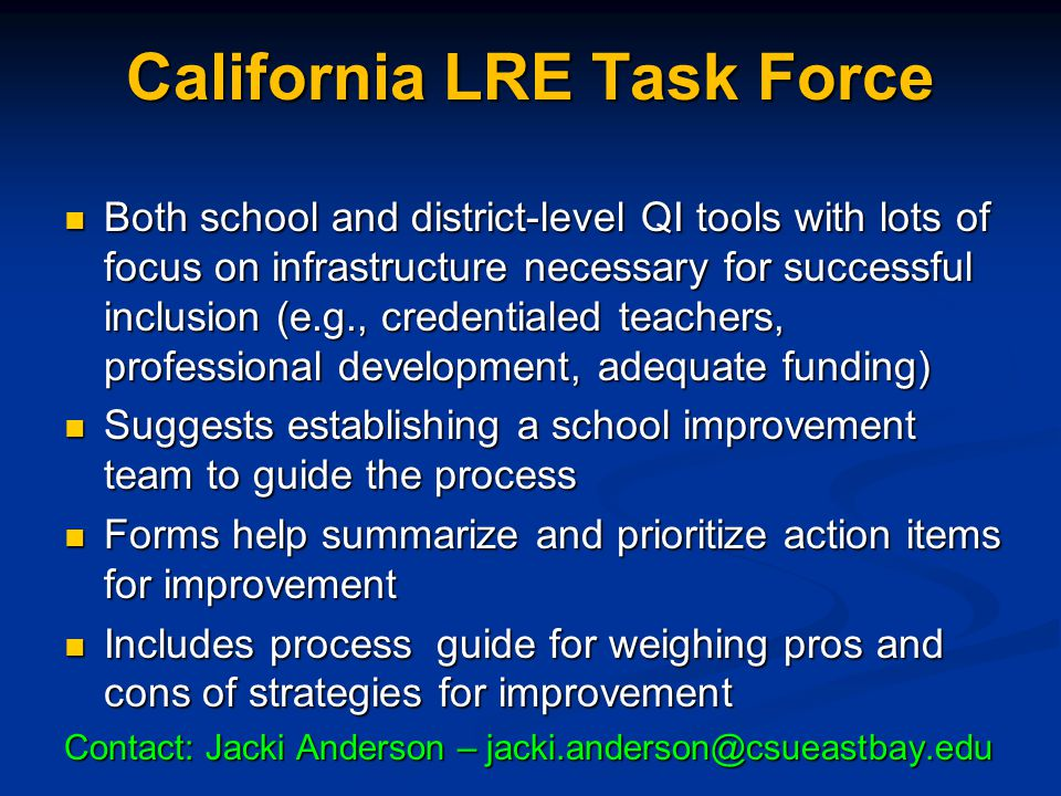 California LRE Task Force