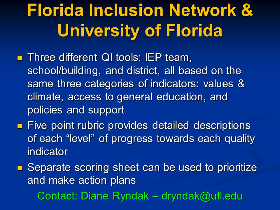 Florida Inclusion Network & University of Florida