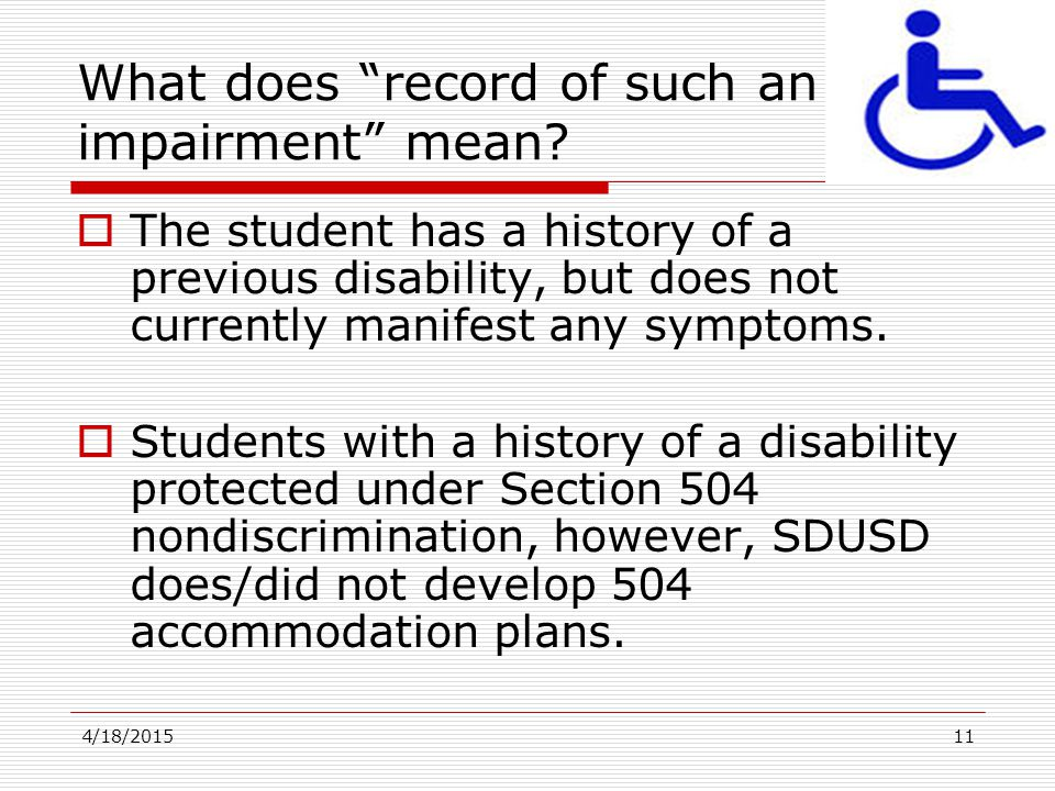 What does record of such an impairment mean