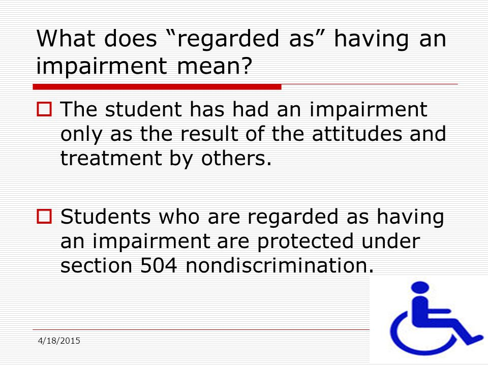 What does regarded as having an impairment mean