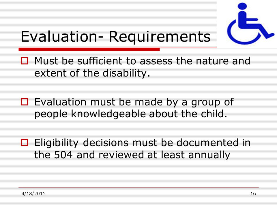 Evaluation- Requirements