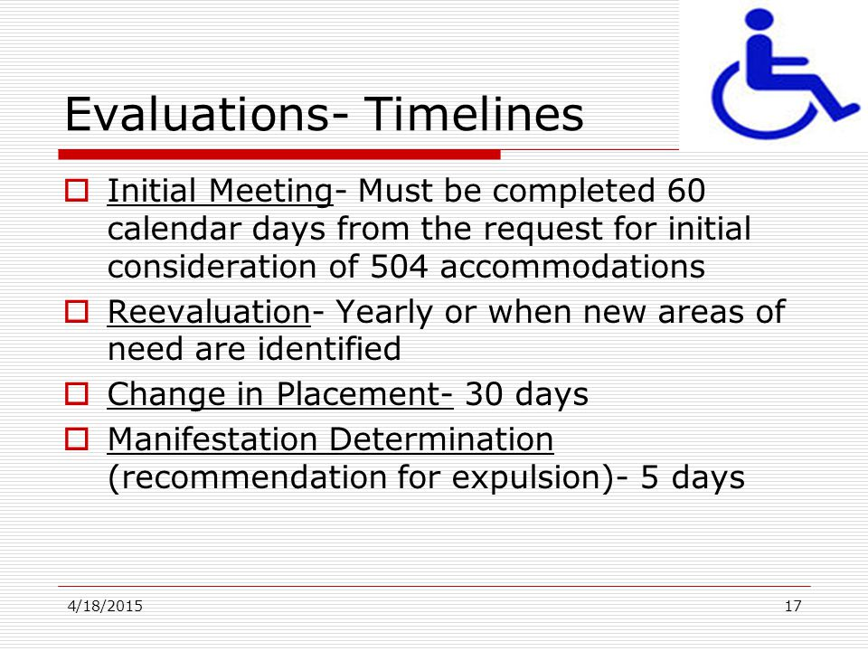 Evaluations- Timelines