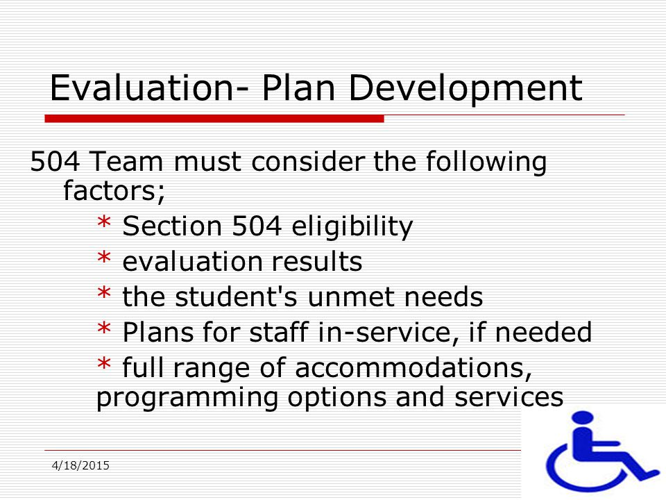 Evaluation- Plan Development