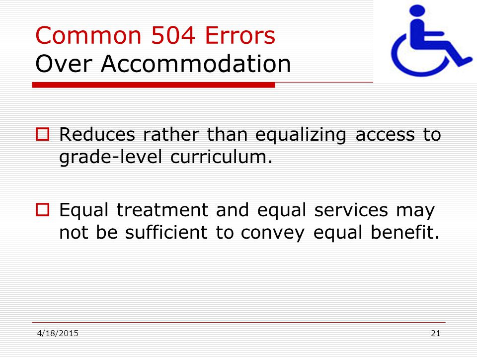 Common 504 Errors Over Accommodation