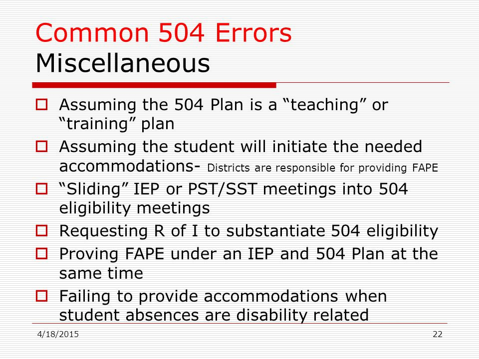 Common 504 Errors Miscellaneous