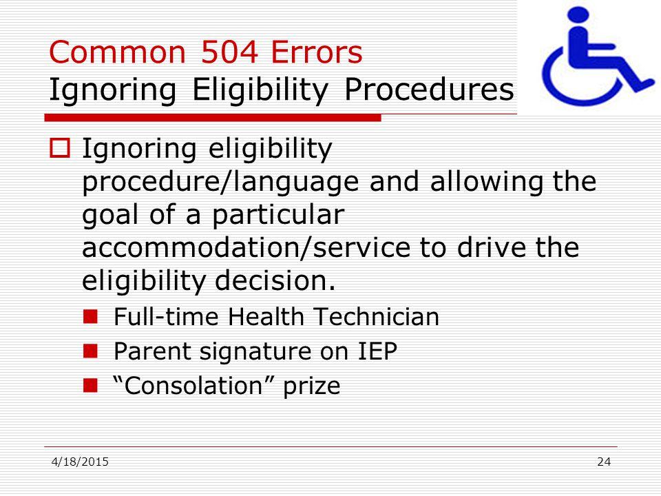 Common 504 Errors Ignoring Eligibility Procedures