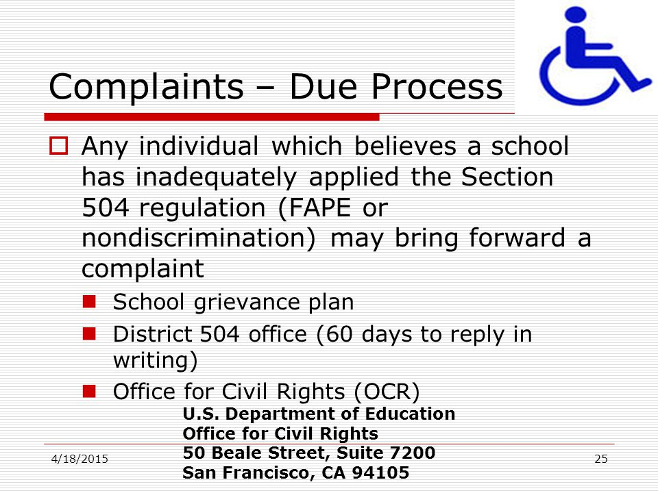 Complaints – Due Process