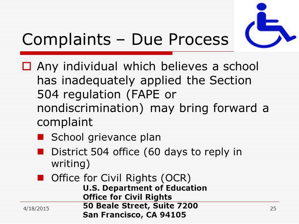 Complaints – Due Process