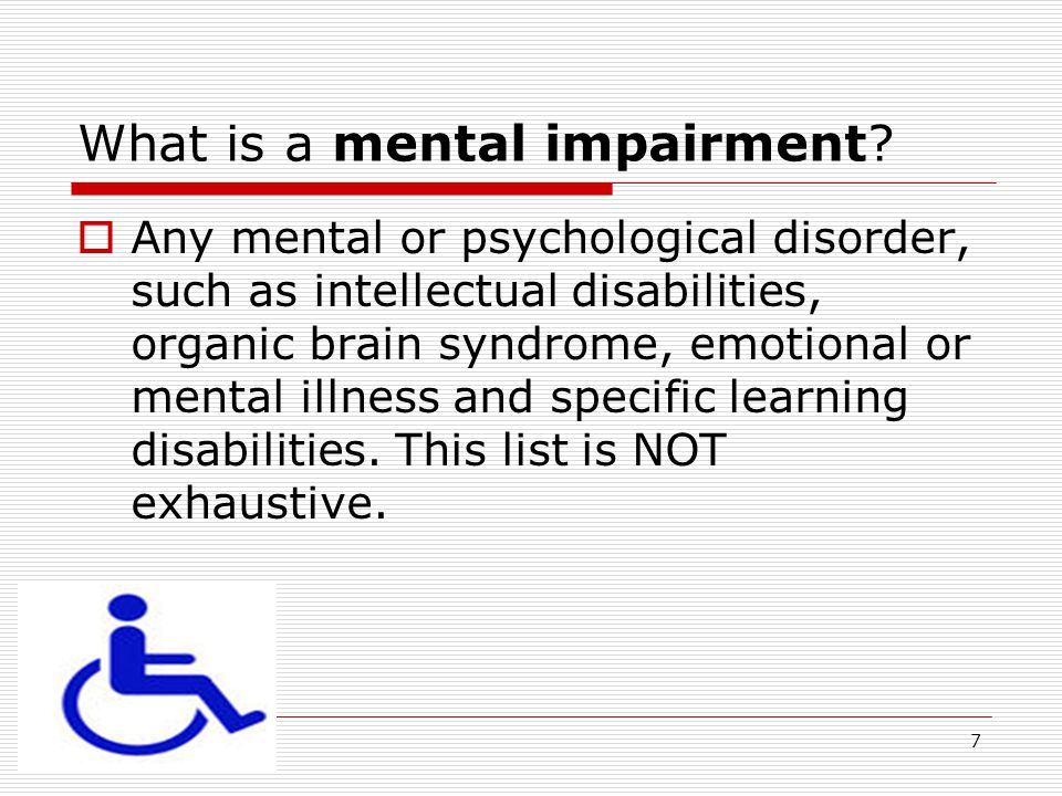 What is a mental impairment