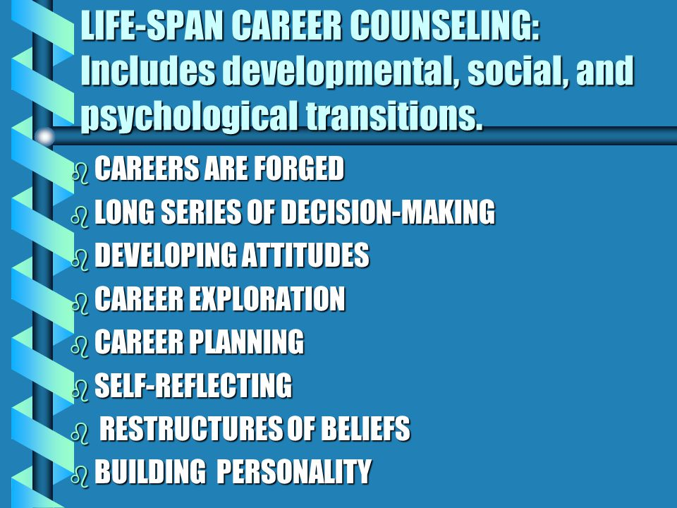 LIFE-SPAN CAREER COUNSELING: Includes developmental, social, and psychological transitions.