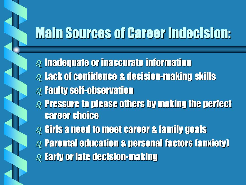 Main Sources of Career Indecision: