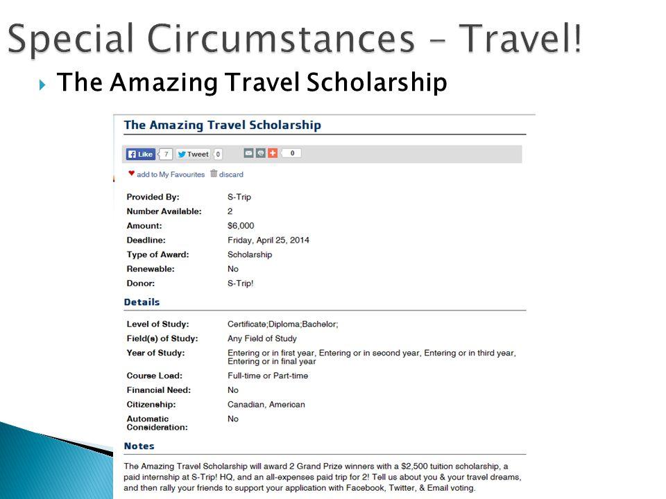 Special Circumstances – Travel!