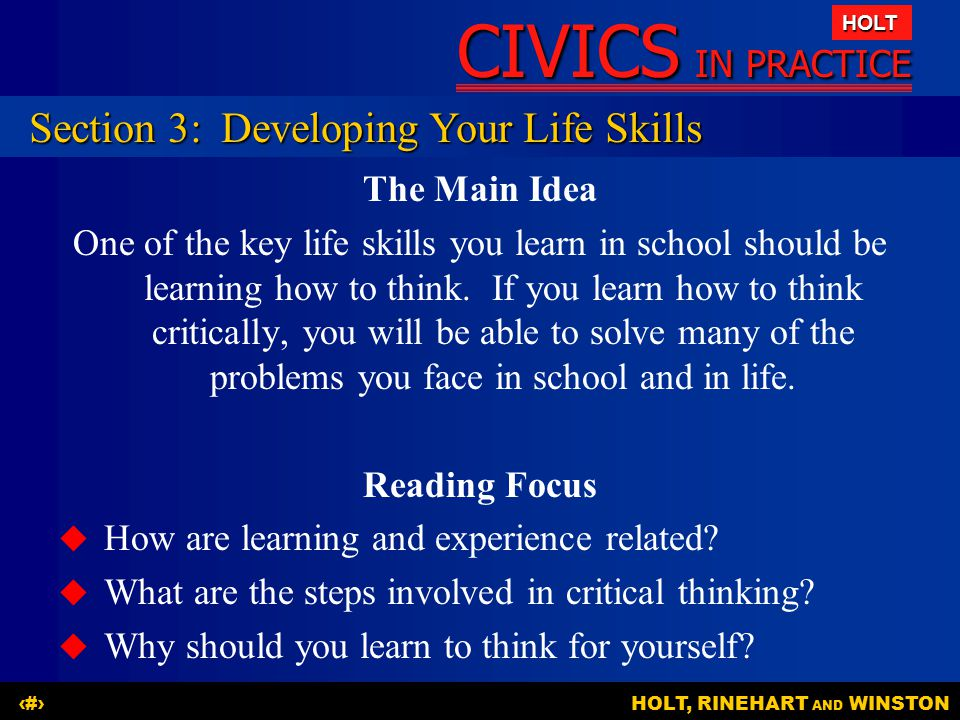 Section 3: Developing Your Life Skills