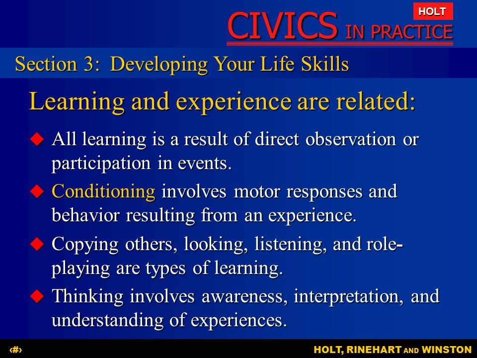 Learning and experience are related: