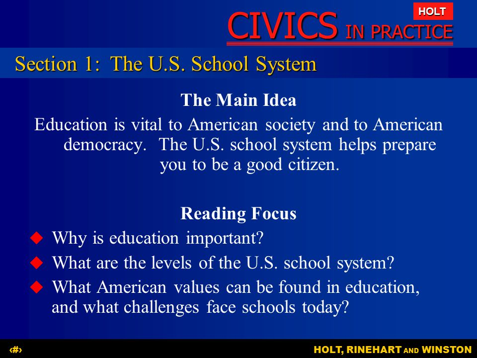 Section 1: The U.S. School System