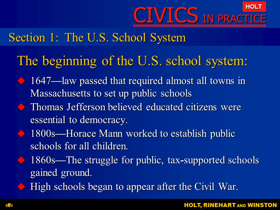 The beginning of the U.S. school system: