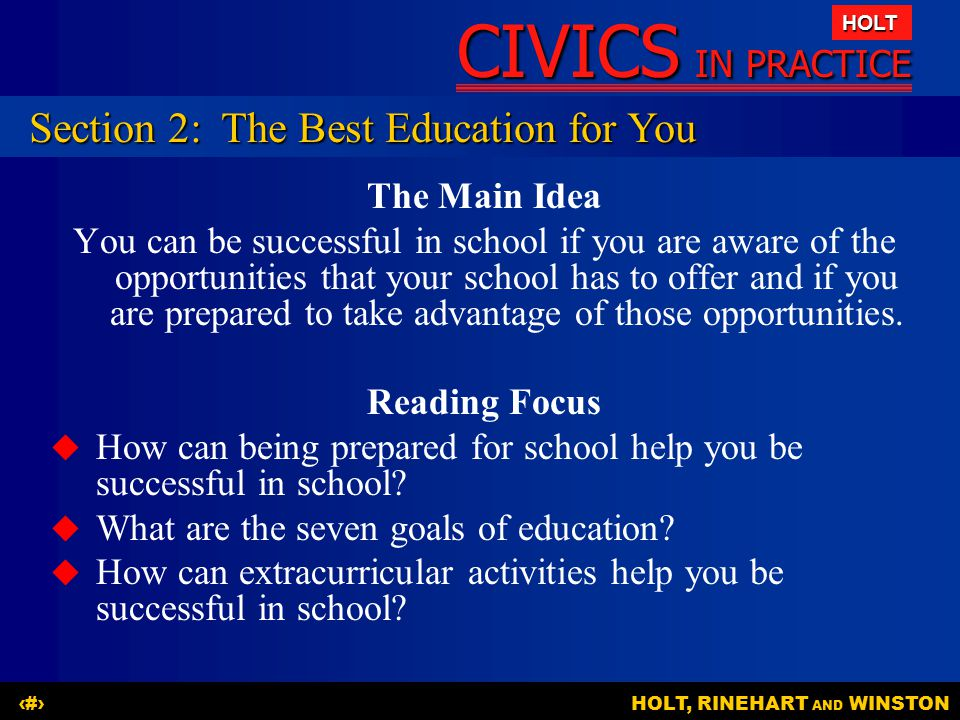 Section 2: The Best Education for You