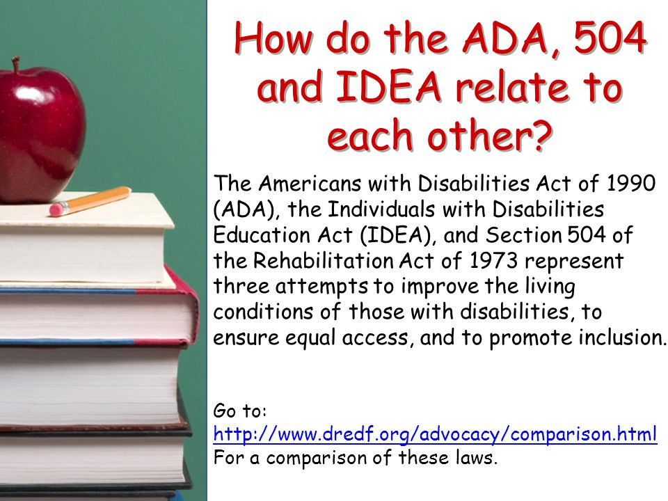 How do the ADA, 504 and IDEA relate to each other