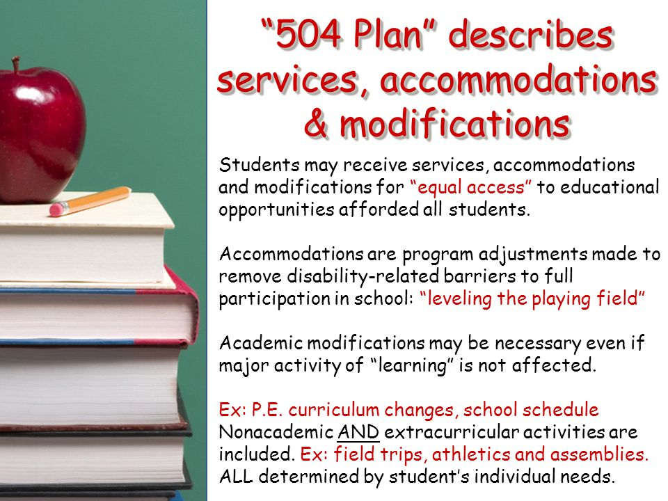 504 Plan describes services, accommodations & modifications