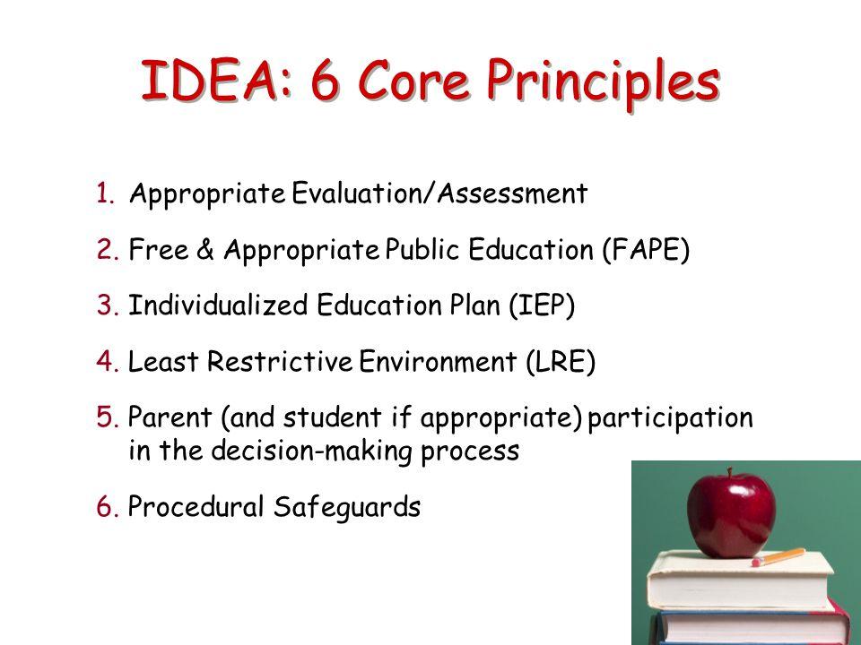 IDEA: 6 Core Principles Appropriate Evaluation/Assessment
