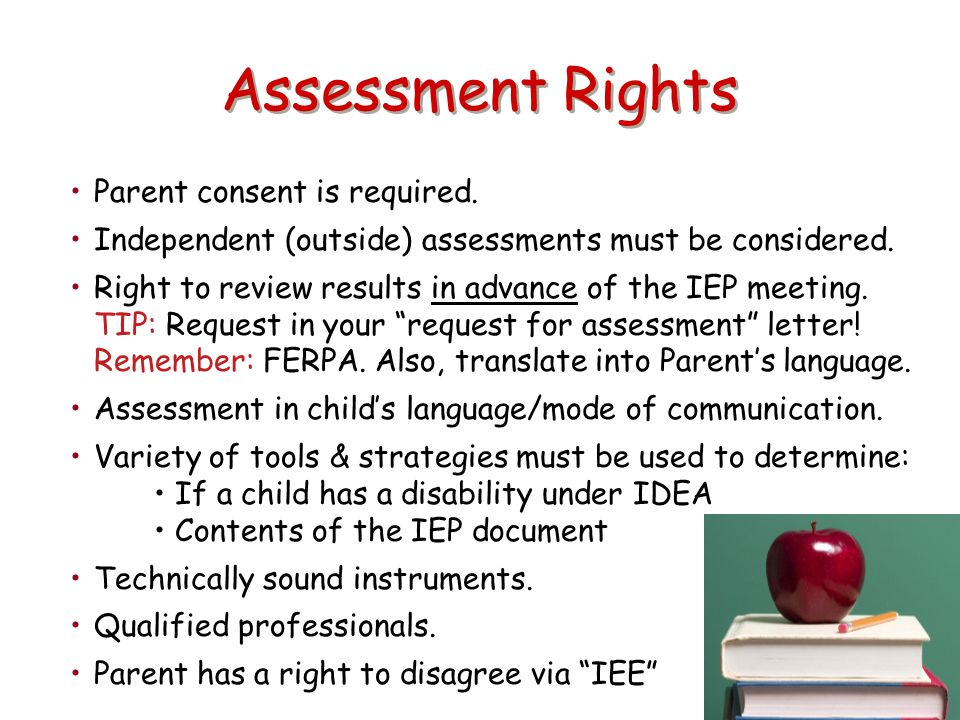 Assessment Rights Parent consent is required.