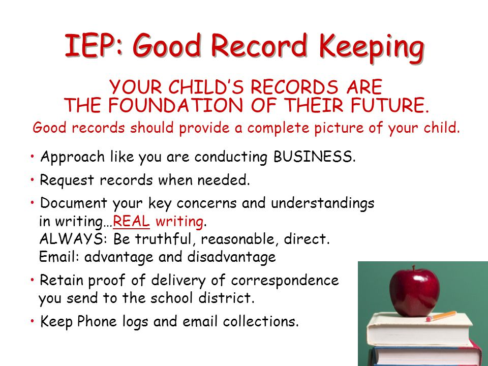 IEP: Good Record Keeping
