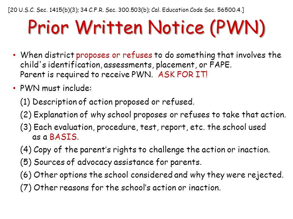 Prior Written Notice (PWN)