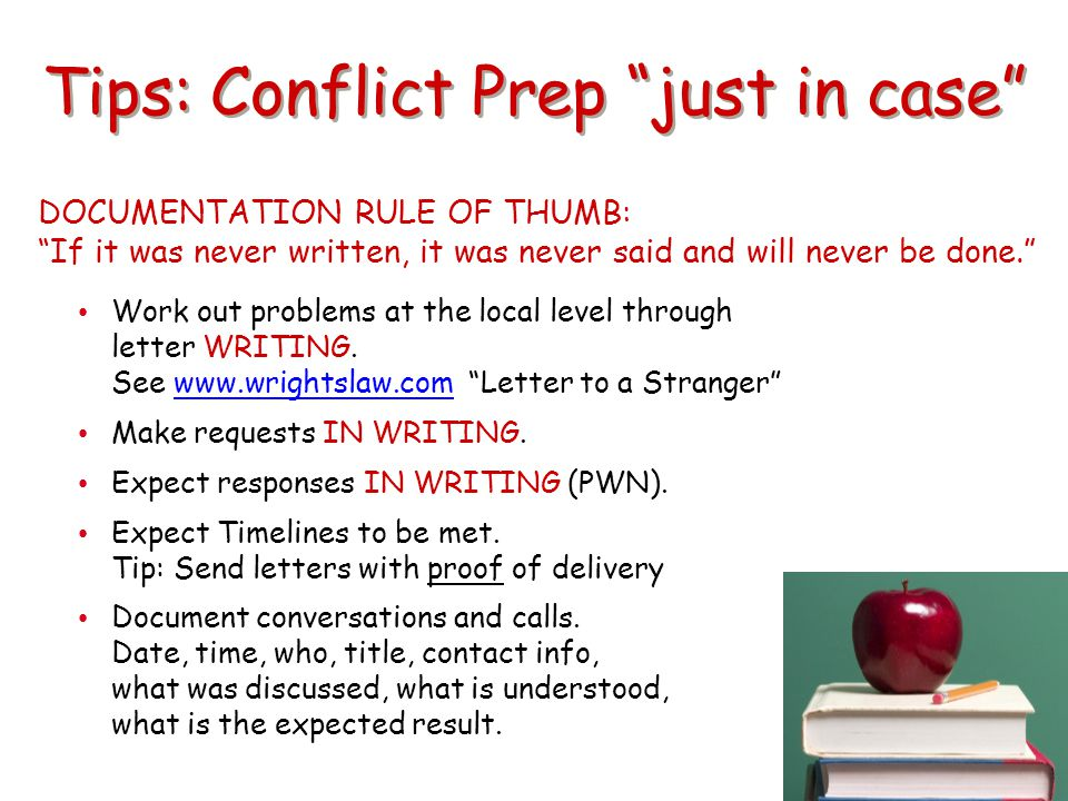 Tips: Conflict Prep just in case