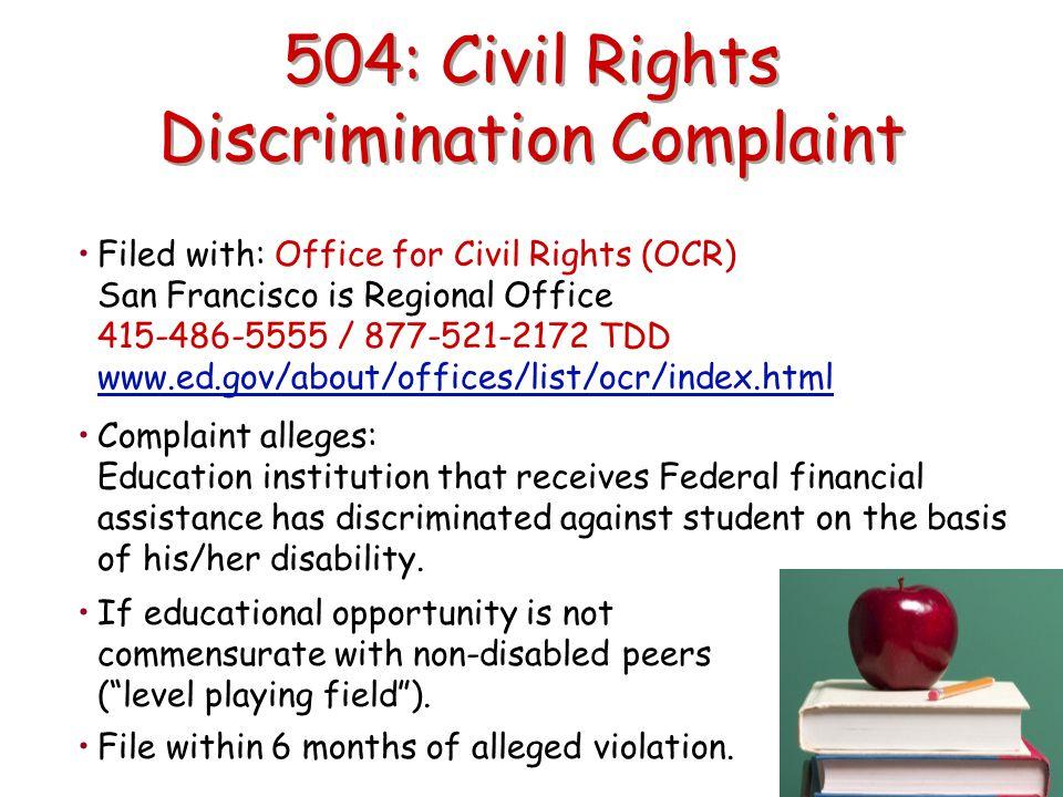 504: Civil Rights Discrimination Complaint