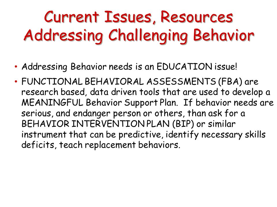 Current Issues, Resources Addressing Challenging Behavior